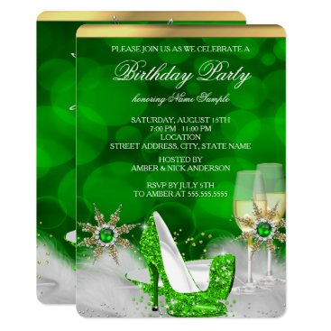 Glitter Lime Green High Heel Shoes Gold Champagne Card