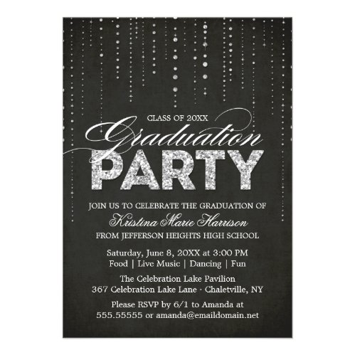 Glitter Look Graduation Party Invitation
