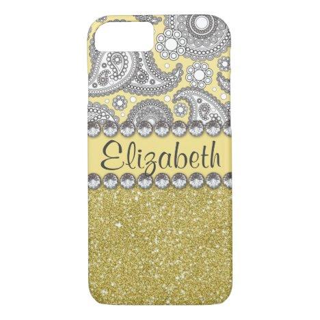 Glitter Paisley Rhinestone Pattern iPhone 8/7 Case