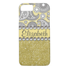 Glitter Paisley Rhinestone Pattern iPhone 7 Case
