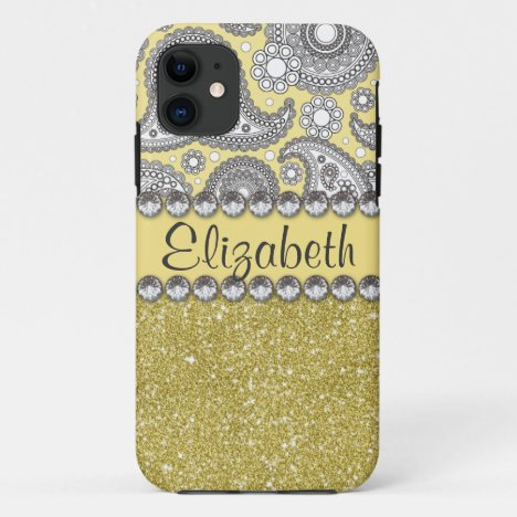 Glitter Paisley Rhinestone Print Pattern iPhone 11 Case