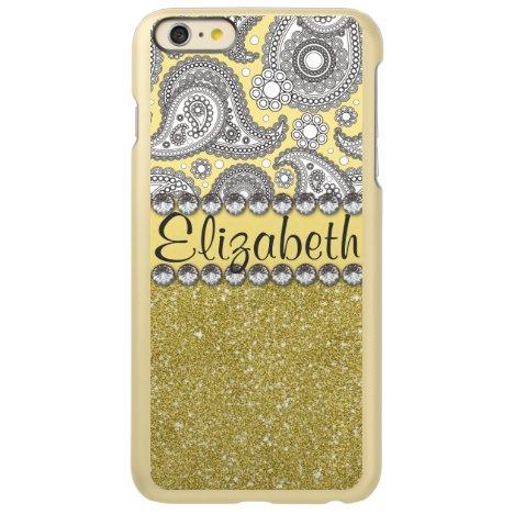 Glitter Paisley Rhinestone Print Pattern Incipio Feather Shine iPhone 6 Plus Case