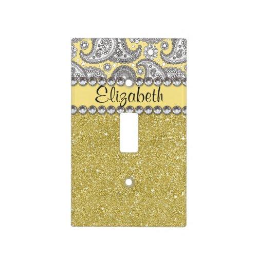 Glitter Paisley Rhinestone Print Pattern Light Switch Cover