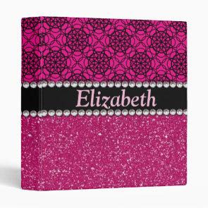 Glitter Pink and Black Pattern Rhinestones Vinyl Binder