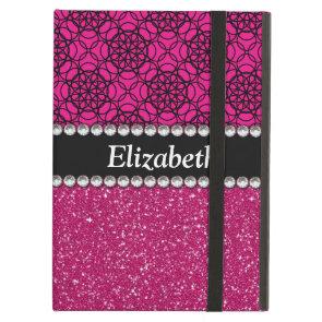 Glitter Pink and Black Pattern Rhinestones iPad Air Case