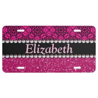 Glitter Pink and Black Pattern Rhinestones License Plate