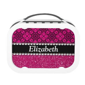 Glitter Pink and Black Pattern Rhinestones Yubo Lunchboxes