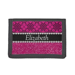Glitter Pink and Black Pern Rhinestones Trifold Wallets