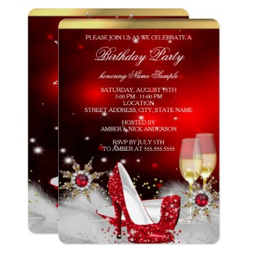 Glitter Red High Heel Shoes Silver Gold Champagne Card