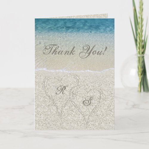 Glitter Sandy Beach Wedding Thank You
