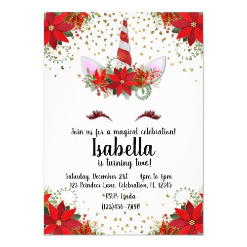 Glitter Unicorn Poinsettia Holiday Birthday Invitation
