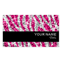 Glitz Zebra Pink business card black stripe