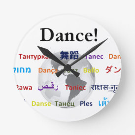 Global Dance - The Global Language (Customizable) Round Clock