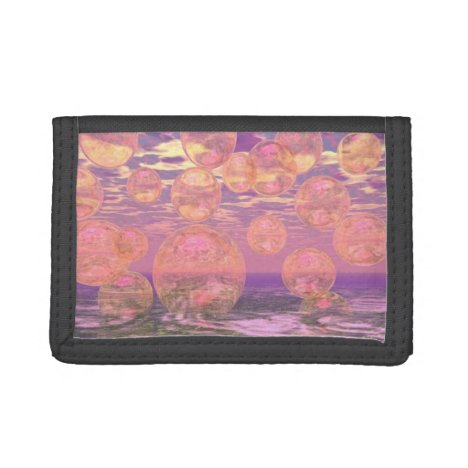 Glorious Skies, Pink and Yellow Dream Abstract Trifold Wallet