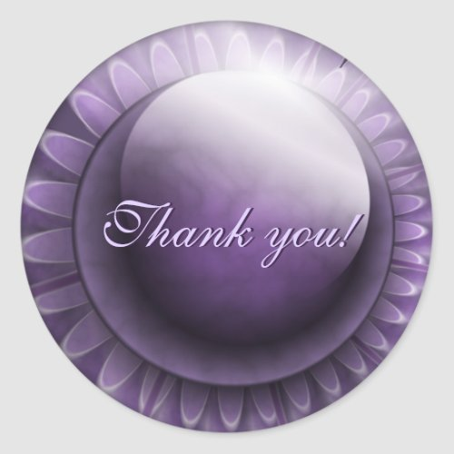 Glossy Purple Thank You Classic Round Sticker