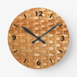 Glossy Wicker Basketweave Texture Look Round Clock