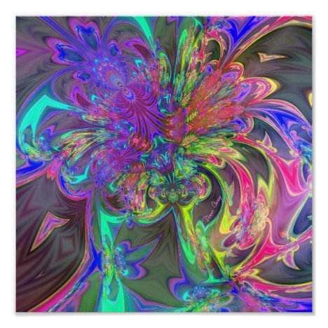 Glowing Burst of Color – Teal & Violet Deva Poster