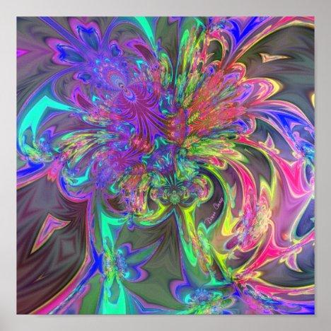 Glowing Burst of Color – Teal & Violet Deva Poster