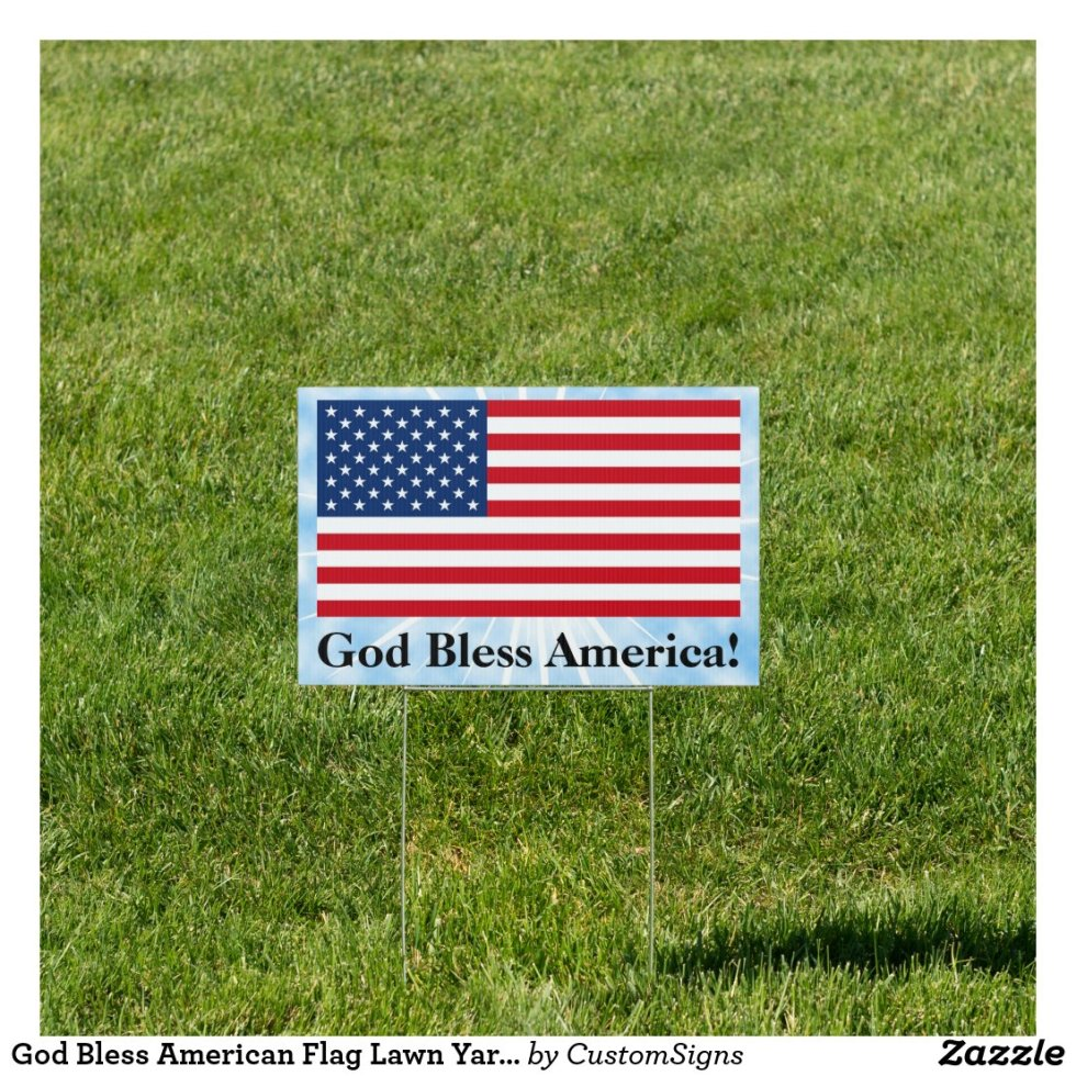 God Bless American Flag Lawn Yard Sign