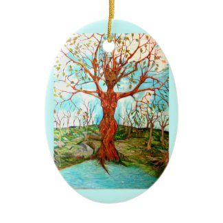 Goddess Tree Figure in Autumn Spiritual Painting ornament