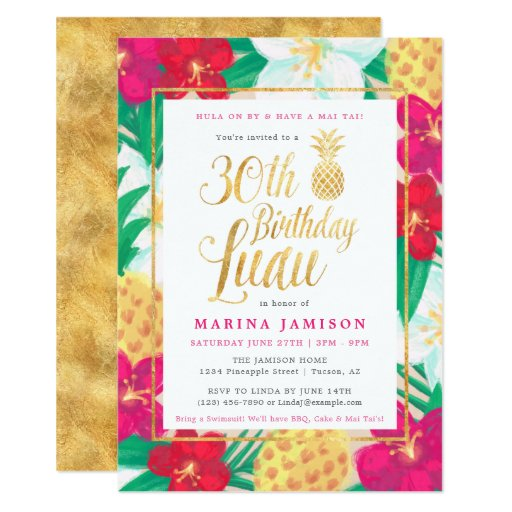 Gold 30th Birthday Luau Party Invitations