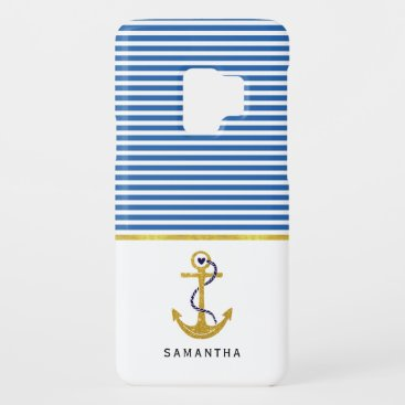 Gold anchor and blue, white stripes green nautical Case-Mate samsung galaxy s9 case
