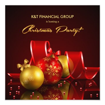 Gold and Red Ornament Christmas Holiday Party Card