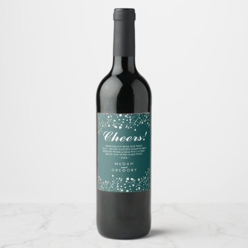 Gold and Teal Baby&#39&#x3B;s Breath Elegant Wine Label