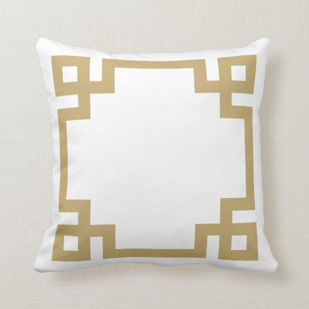 gold and white greek key border throw pillow zazzle com