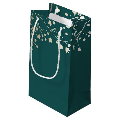 Gold Baby&#39&#x3B;s Breath Elegant Teal Wedding Small Gift Bag