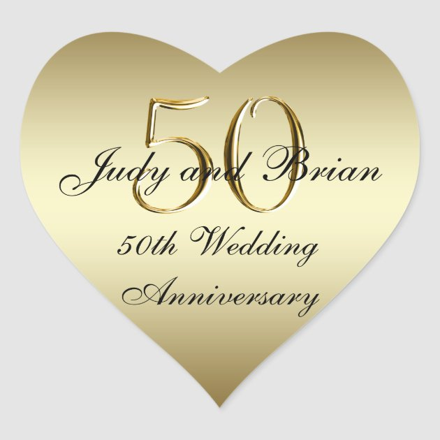 Gold Black 50th Wedding Anniversary Heart Sticker