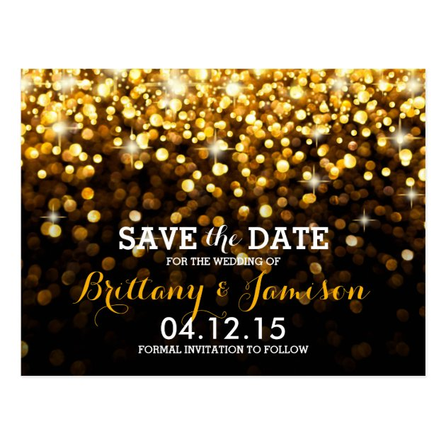 Gold Black Hollywood Glitz Glam Save The Date Postcard