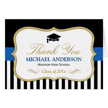 Gold Blue Black White Stripes Graduation Thank You