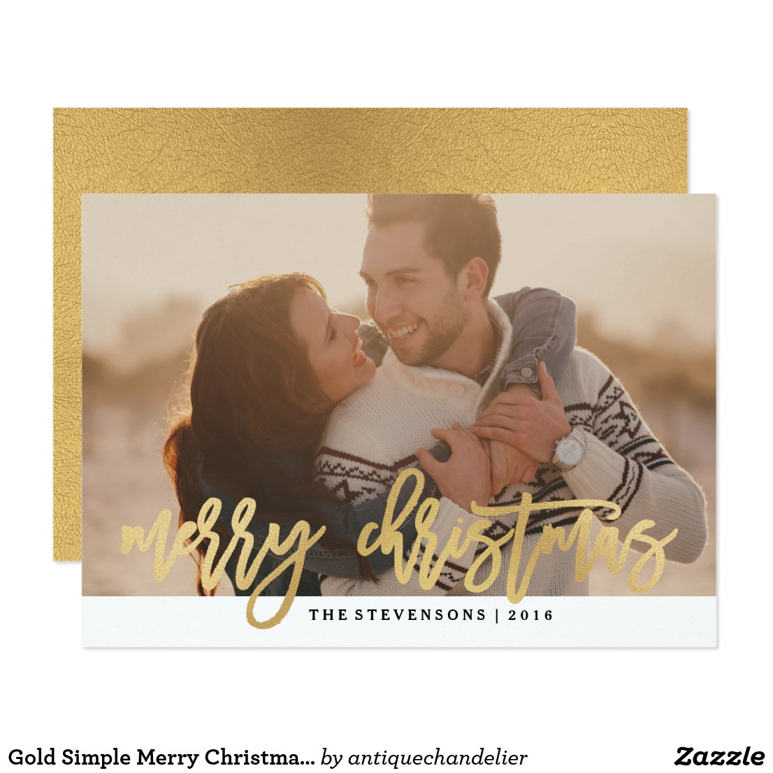 Gold Blush Merry Christmas Holiday Photo Card