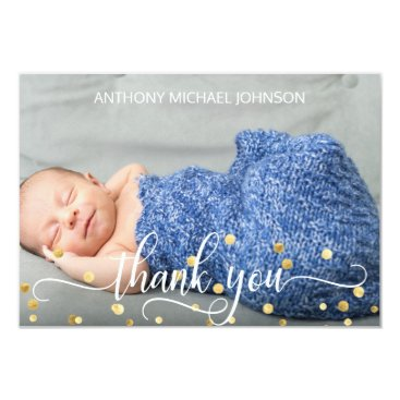Gold BOY Baby Shower THANK YOU | PHOTO   TEXT Card