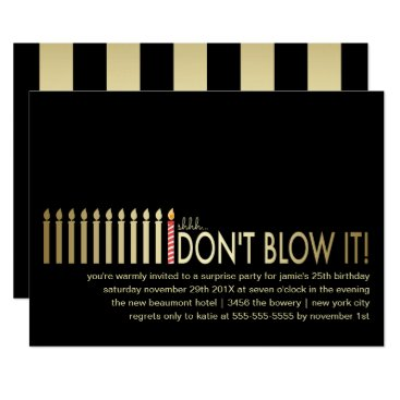 Gold Candles Surprise Birthday Party Invitation