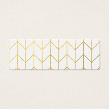 Gold Chevron White Background Modern Chic Mini Business Card