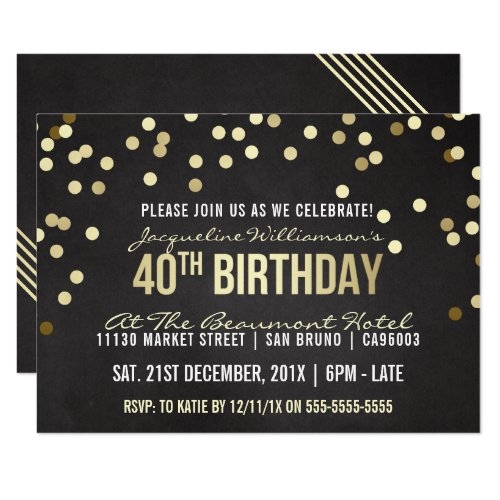 Gold Confetti Chalkboard Woman's 40th Birthday Card