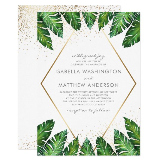 Gold Confetti Tropical Palm Leaves Wedding Card