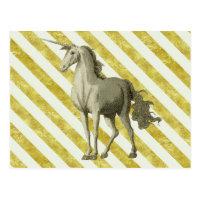 Gold & Cream Striped Vintage Unicorn Postcard