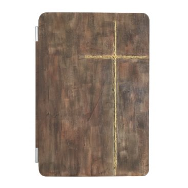 Gold Cross on a Wooden Background iPad Mini Cover