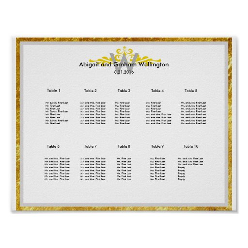 Gold Crown Wedding Seating Chart Poster
