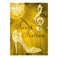 Gold Disco Ball and Sparkle Heels Sweet 16 Personalized Announcements