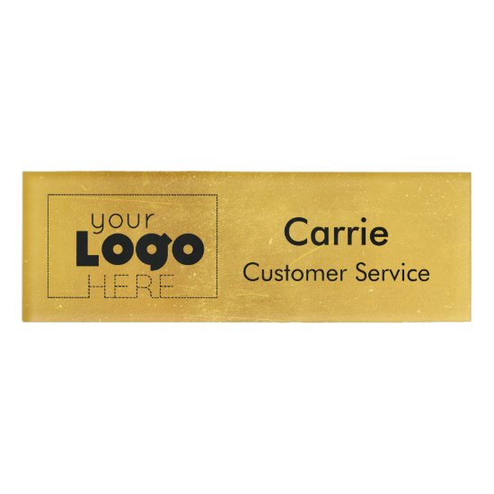 Gold Faux Foil Your Logo Employee Staff Name Badge