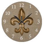 Gold Fleur de Lis Faux Burlap Large Clock