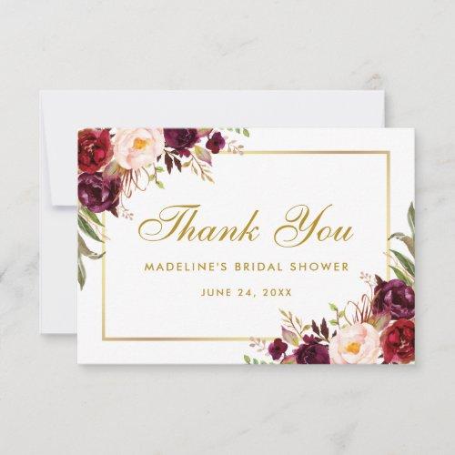 Gold Floral Burgundy Bridal Shower Thanks SB Thank You Card