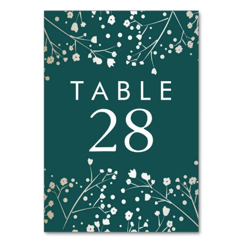 Gold Foil Baby&#39&#x3B;s Breath Teal Wedding Table Numbers