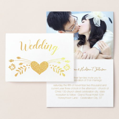 Gold Foil Floral Typography Wedding Invitations
