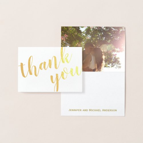 Gold Foil Thank You with Photo and Name Foil Card