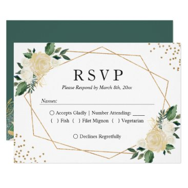 Gold Frame Green Ivory Floral Wedding RSVP Reply Card